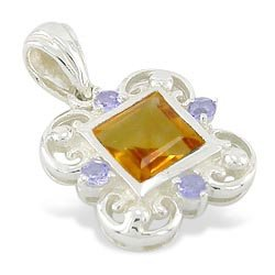 CITRINE AND TANZANITE PENDANT