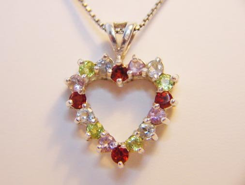 MIXED GEMSTONE HEART PENDANT