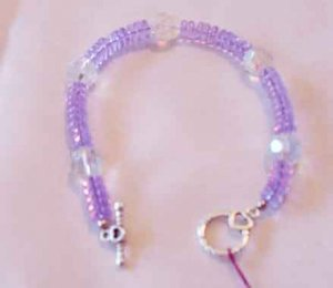 LAVENDER CRYSTAL WITH VINTAGE BEADS BRACELET