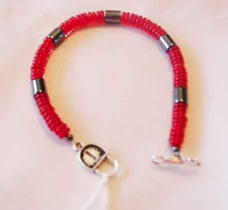RED CRYSTAL BRACELET WITH HEMATITE
