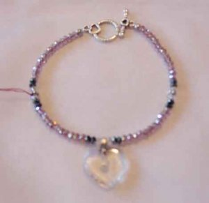 BLACK & PINK CRYSTAL BRACELET WITH HEART CHARM