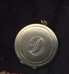 "SOLD Initial ""D"" goldtone locket pendant - no chain"
