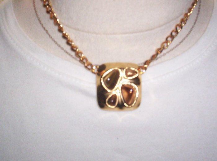 Jones New York 80's  smoky cab goldtone pendant with chain