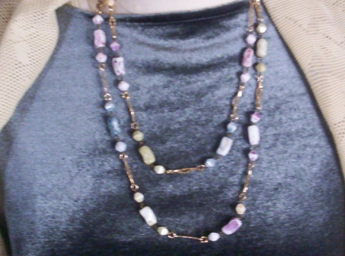 Faux stone and goldtone chain necklace in soft Spring colors