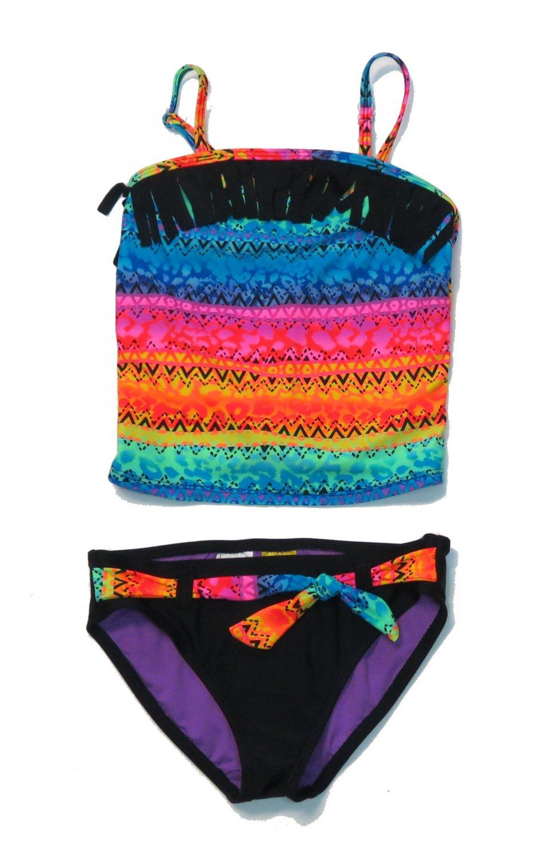 Angel Beach Girls Rainbow Fringe Swimsuit Size 10