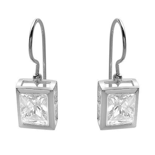 Sterling & CZ Omega Back Earrings