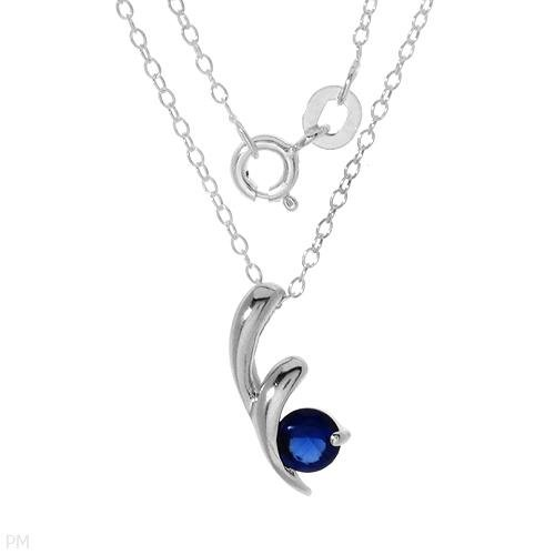 Sterling & Created Sapphire Necklace