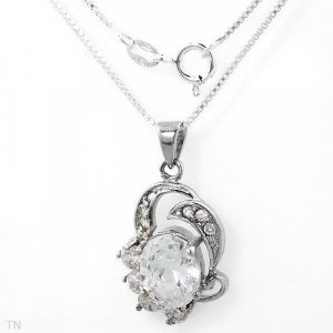 Sterling CZ Oval Necklace