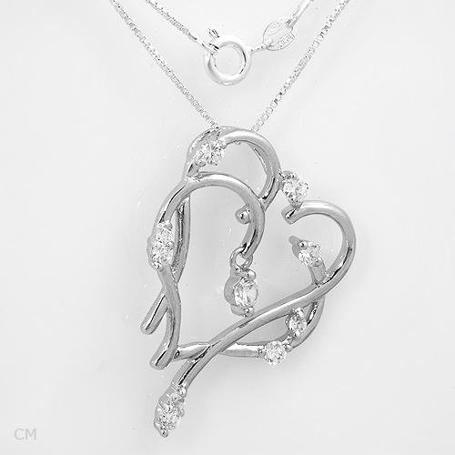 Sterling Silver & CZ Double Heart Necklace