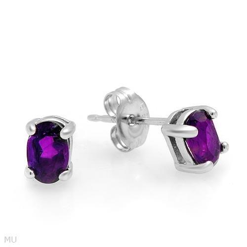 Sterling & Amethyst Stud Earrings