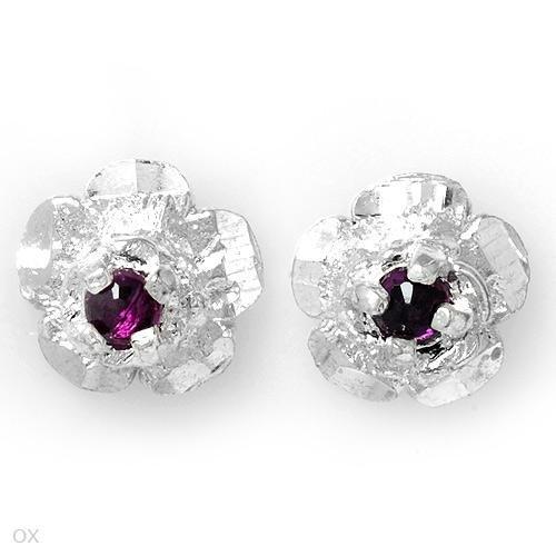 Sterling & Amethyst Floral Earrings