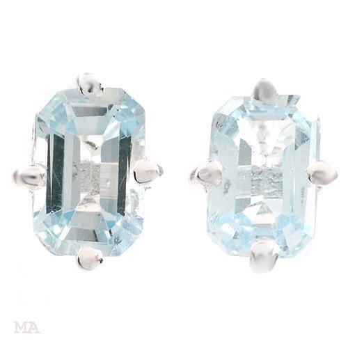 Sterling & Blue Topaz Octagon Earrings