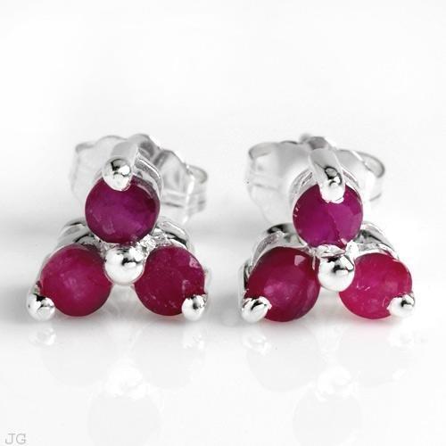 Sterling & Ruby Earrings