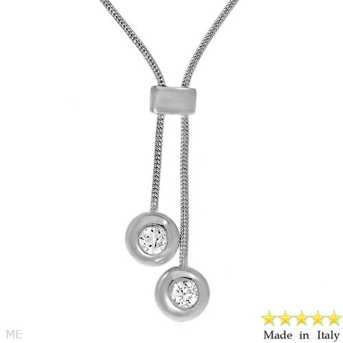 Sterling Silver Lariat Necklace w/CZ's