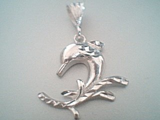 Sterling Silver Fancy Ornate Dolphin Pendant