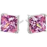 Sterling Silver Pink 8MM Princess Stud Earrings