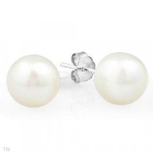 Sterling & White Pearl Stud Earrings