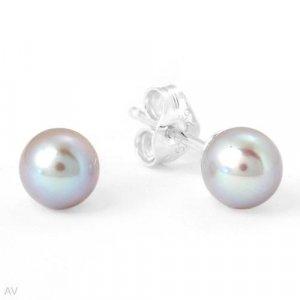 Sterling & Silver Pearl Stud Earrings