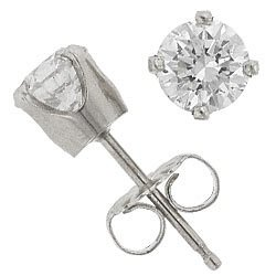 Sterling Silver 4MM CZ Round Stud Earrings