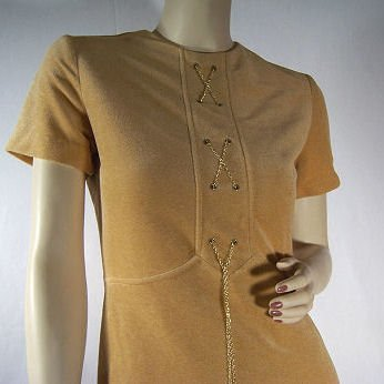 1970's Velour Mini Dress with Chain Laced Faux Corset! XS