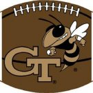 GEORGIA TECH YELLOW JACKETS FOOTBALL RUG MAT WOVEN 6 FT