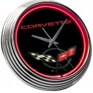 Chevrolet Chevy Corvette Fender Trunk Emblem Neon Clock Sign