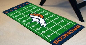 DENVER BRONCOS FOOTBALL FIELD RUG GAME MAT FREE SHIPPIN