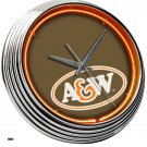 NEW A&W ROOT BEER FAST FOOD RESTAURANT NEON CLOCK SIGN