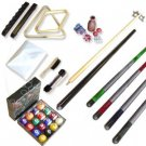 Billiard Pool Cue Balls Sticks Rack Brush Chalk Set New