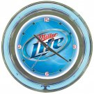 Miller Lite Brewing Beer Bottle Bar Sign Neon Clock