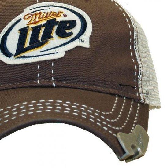 fcab740796a53 Miller Lite Beer Bottle Opener Brown Trucker Baseball Hat Cap