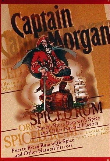 Captain Morgan Spiced Rum Pirate Tin Pub Bar Wall Sign