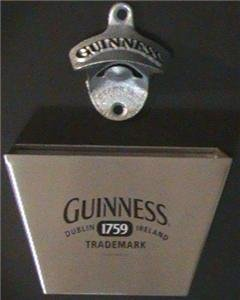 Guinness Irish Bar Glass Beer Bottle Opener Cap Catcher