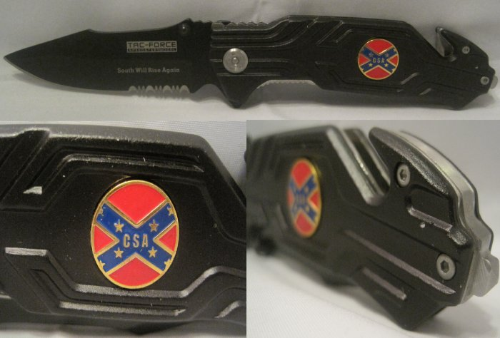 Confederate Sons America CSA Rebel Folding Rescue Knife