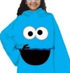 Sesame Street Cookie Monster Fleece Snuggie Blanket Pajama Robe Small