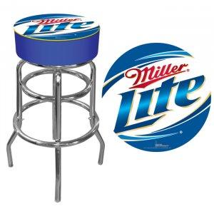 Miller Lite Brewing Beer Bottle Swirl Double Rung Bar Stool Seat