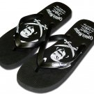 Captain Morgan Pirate Black Flip Flop Thong Sandal Shoe 12/13