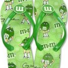 M&M Chocolate Candy Green Girl Flip Flop Sandal Shoes 7/8