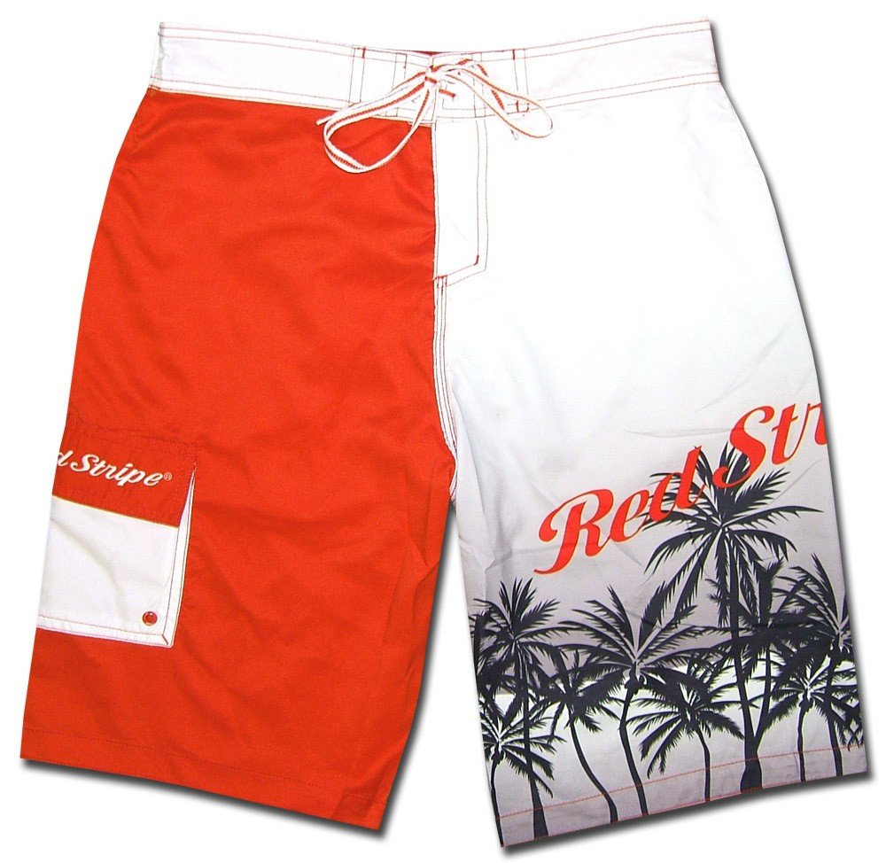 Red Stripe Beer Men Surf Beach Board Shorts Swim Trunks Medium 32 to 34