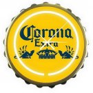 Corona Extra BeerYellow Bottle Cap Bar Sign Neon Clock