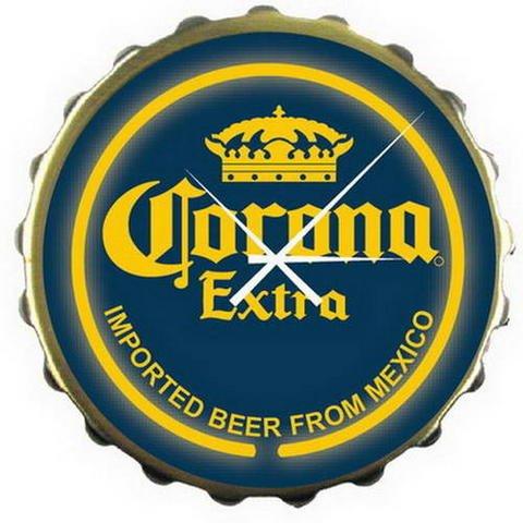 Corona Extra Beer Bottle Cap Blue Bar Sign Neon Clock