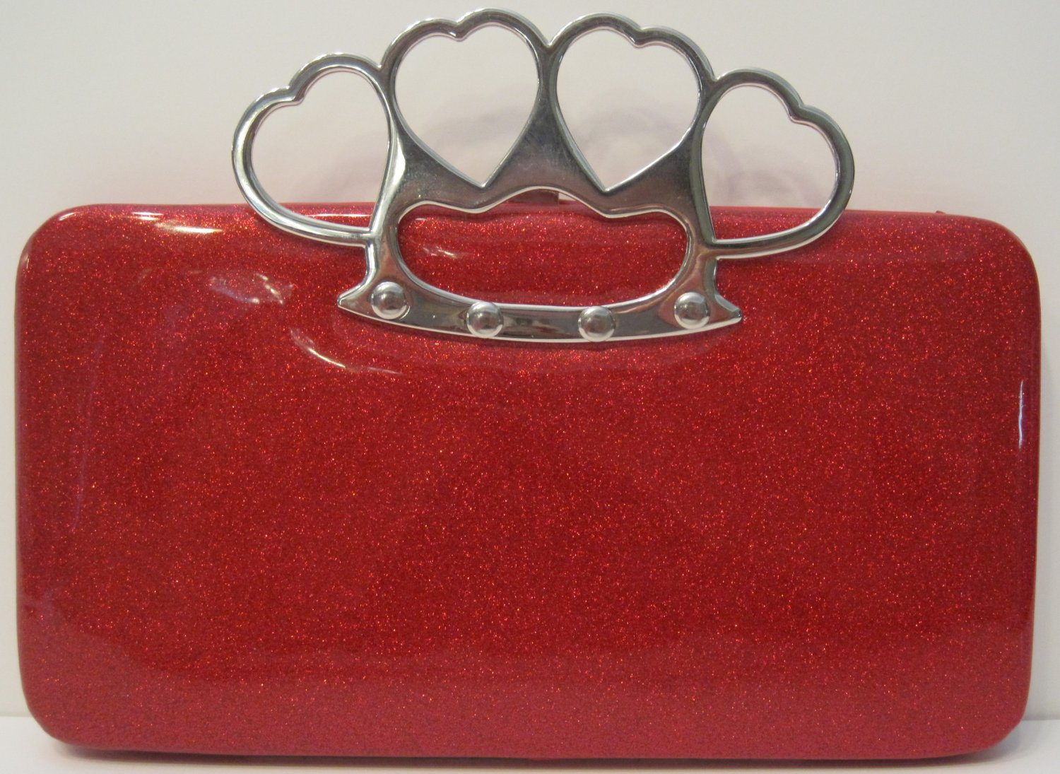 Red Hot Brass Knuckle Duster Clutch Wallet Hand Bag Purse