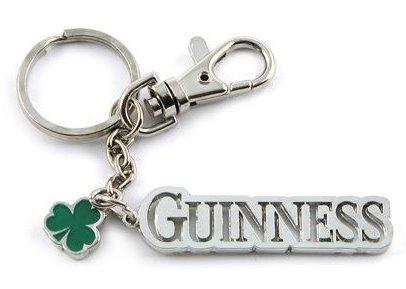 Guinnness Beer Shamrock Clover Charm Keychain Key Ring