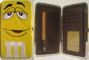 Yellow M&M Chocolate Candy Clutch Wallet Hand Bag Purse