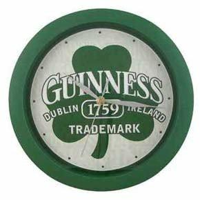 Guinness Beer Irish Beer Green Shamrock Clover Clock