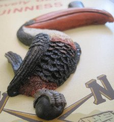 Arthur Guinness Extra Stout Irish Beer Pub 3D Toucan Pint Glass Wood Bar Sign