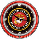 United States Marine Corps Jarhead Devil Dog Globe Anchor Bar Sign Neon Clock