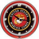 United States Marine Corps Jarhead Devil Dog Globe Anchor Bar Sign Neon Clock