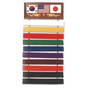 Korean Japanese US Flag Taekwondo Karate Kung Fu Jiu Jitsu Martial Arts Black Belt Display