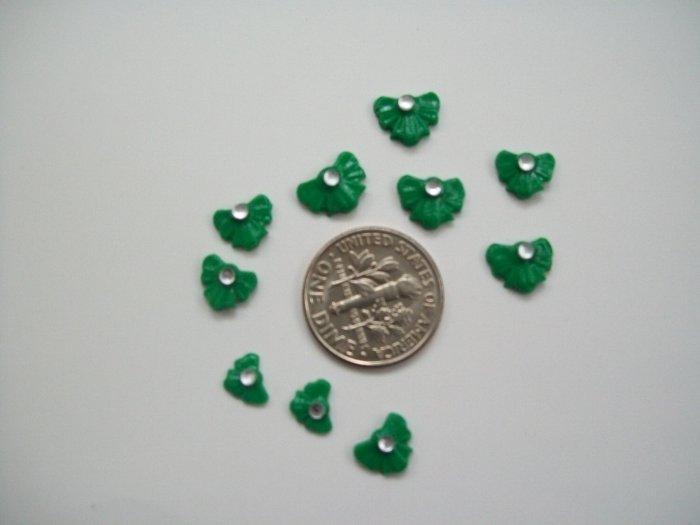 Nail Art 3D Green Fimo Rhinestone Bow
